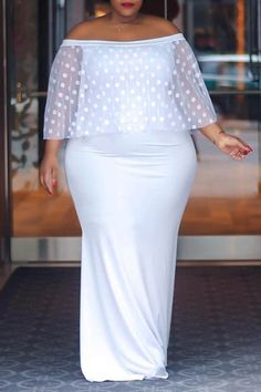 Ericdress Plus Size Floor-Length Off Shoulder Bodycon Pullover Dress - Moda daily Curvy Fashion, Plus Size Fashion, Women's Fashion, Fashion Trends, Plus Size Dresses, Plus Size Outfits, Plain Dress, White Dress, Latest African Fashion Dresses