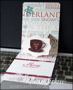 Another great Pop 'n Cuts card by Karen Aicken. This uses the Wavy Label Insert. Altered Scrapbooking: Hot Chocolate Kit, Card #6