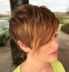 Red Layered Pixie With Bangs