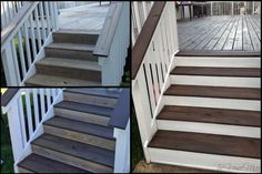 To tackle staining our deck we chose semi-transparant Olympic Deck, Fence and Siding stain in Coffee. The Acyrlic/Oil formula is supposed to ensure the stain penetrates deep in to the wood, conditi… Dark Deck, White Deck, White Porch, Deck Stain Colors, Deck Colors, Paint Colors, Tech Deck, Porch Paint, Deck Makeover