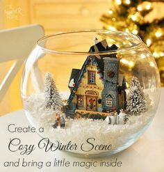 Create a Winter Scene With Lighted House - its like a big snow globe! So Magical and pretty as a centerpiece. Who says you cant have a white Christmas :)