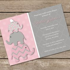 Stacked Pink Elephants Baby Shower Invitation DIY by LOlsonDesigns, $14.55