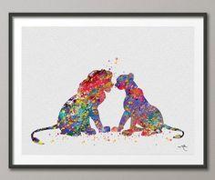 Simba et Nala du Roi Lion aquarelle Art Print Wall par CocoMilla