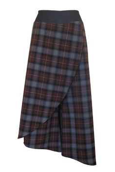 Long Asymmetrical Skort in Brown Plaid | Carol Young | Undesigned