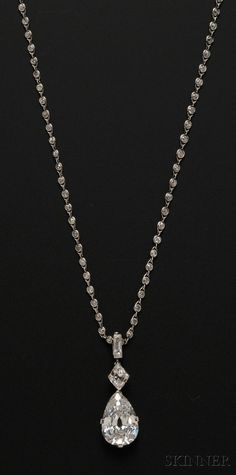 Cartier Diamond Necklace to die for..FINE JEWELRY - SALE 2601B - LOT 580 - IMPORTANT ART DECO PLATINUM AND DIAMOND PENDANT NECKLACE, CARTIER, NEW YORK, SET WITH A PEAR-SHAPE DIAMOND WEIGHING 7.93 CTS., AND A KI - Skinner Inc #diamondpendantnecklace