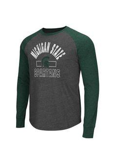 Michigan State Spartans T-Shirt - Charcoal MSU Hammer Mens Long Sleeve Tee www.rallyhouse.com/college/michigan-state-spartans/a/mens/b/clothing/c/sweatshirts-sweaters?utm_source=pinterest&utm_medium=social&utm_campaign=Pinterest-MSUSpartans $23.99