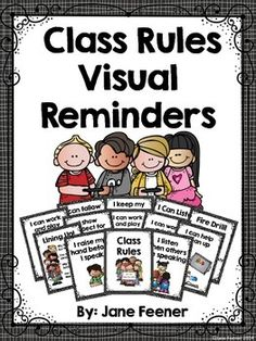 Class rules with a visual reminder for teaching important rules and procedures during the first weeks of school. Classroom Procedures, Classroom Rules, Classroom Posters, School Classroom, Classroom Organization, Classroom Behavior, Classroom Ideas, Behaviour Management, Class Management