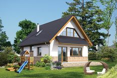 Proiect superb de casa cu mansarda in suprafata de 90 mp! Tropical House Design, Small House Design, Tropical Houses, Small House Plans, Design Case, House Rooms, Home Fashion, Home Improvement, Sweet Home