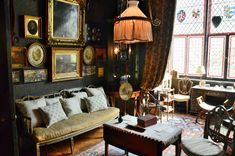 Victoriana at 18 Stafford Terrace and the Sambournes William Morris Wallpaper, Morris Wallpapers, The Woman In Black, Kensington And Chelsea, Stained Glass Windows, Victorian Fashion, Terrace, 18th, Couch