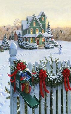 Ruth Sanderson (b.1951) — Christmas Mailbox   (640×1024)