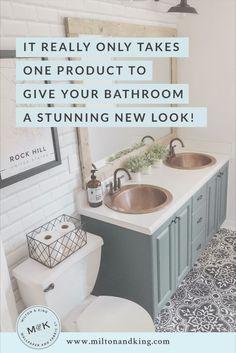 Diy Bathroom Remodel, Bathroom Renos, Bathroom Renovations, Home Remodeling, Paint Bathroom Cabinets, Inexpensive Bathroom Remodel, Dyi Bathroom, Bathroom Wood Wall, Home Renovations
