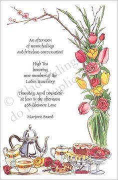 Tea Party Invitations, High Tea Floral Arrangement