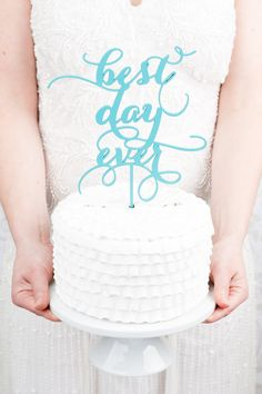 Best Day Ever Wedding Cake Topper Tiffany Blue by BetterOffWed