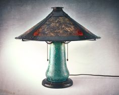 """2015 Hammered copper and mica shade lamp by Jim Davies of Craftsman Copper, custom made for this circa 1923 Thomas Gotham Pottery crystalline glaze lamp base, 2015.  14 3/4"""" tall, 16"""" across at the shade  Like Craftsman Copper's page: https://www.facebook.com/CraftsmanCopper?fref=ts  Craftsman Jim Davies' Website: http://www.craftsmancopper.com/"""