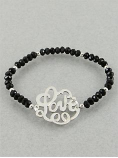 P.S. I Love You More Boutique | Black & Silver Love Monogram Bracelet | Online Store Powered by Storenvy