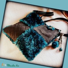 Handmade by Judy Majoros- Turquoise-black faux fur Bag Fur Bag, Faux Fur, Turquoise, Handmade, Bags, Purses, Totes, Handbags, Hand Made