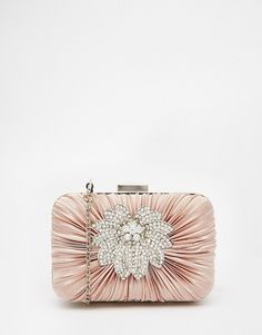 Image 1 of Vintage Styler Box Clutch with Floral Brooch Detail in Nude