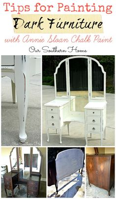 Tips for painting dark furniture with chalky paint finishes - pin now read later