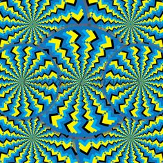 Zigzag Wheelies  (motion Illusion)  Zigzag-patterned wheels turn in opposite directions in an abstract illustration of the illusory motion variety.  You won't believe your eyes!   optical illusion,illusion,abstract,wall art,decor,op art,green,blue,wheels,rotating, art