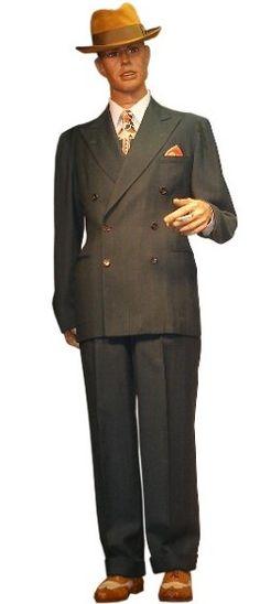 1940's type suit rental. Includes: pinstripe suit, fedora hat, shirt, tie, suspenders, hanky, watch chain, shoes $70