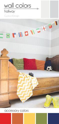 boys room - Cuckoo4Design stripes are painted Valspar Silver Leaf 4006-1A and Metropolis 4005-1C