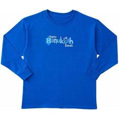 Personalized Happy Hanukkah Long Sleeve Toddler T-Shirt, Blue