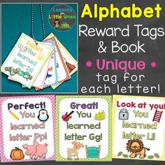 These positive and unique brag tags were created to encourage and motivate young students to learn the letters of the alphabet and reward their efforts.Each of the brag tags / rewards are unique so that students receive something different and special Book Letters, Alphabet Book, Learning The Alphabet, Alphabet Letters, 26 Letters, Student Rewards, Student Gifts, Student Christmas Gifts, Brag Tags