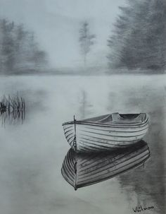 Misty row boat, reflection in graphite. - drawings - Misty row boat, reflection in graphite. Pencil Art Drawings, Art Drawings Sketches, Cool Drawings, Best Sketches, Pencil Drawing Pictures, Landscape Sketch, Landscape Drawings, Landscape Drawing Tutorial, 3d Pencil Sketches