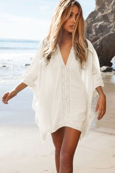 White Cotton V-Neck Tunic