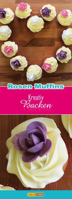 Muffins mit essbaren DECOCINO Rosen aus Oblaten dekorieren