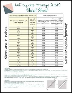 Half Square Triangle (HST) Cheat Sheet and Tutorial - Jacquelynne Steves