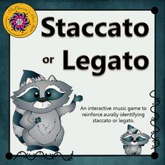 "Looking for a fun way to help your music students understand the concept of legato and staccato?  They will love watching this little guy dance when the correct answer is chosen in this interactive music game of opposites.  Get ready for the ""giggles""!"