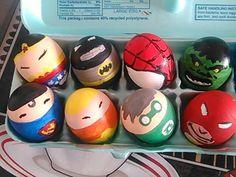 Superheros easter eggs Egg Crafts, Easter Crafts For Kids, Diy For Kids, Hoppy Easter, Easter Eggs, Easter Hunt, Easter 2018, Egg Art, Egg Decorating