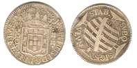 "Moeda brasileira de prata de 320 réis, chamada ""pataca""."