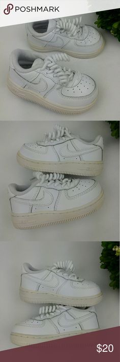 Nike Air Force 1 infant/toddler shoes 6c Nike Air Force 1 infant/toddler shoes Size 6c 12 cm No tie-shoelaces Have been washed and sanitized. Minor signs of wear. Nike Shoes Sneakers