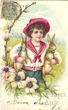 Edwardian Boy in Sailor Suit with Rabbits Antique French Chromo Easter Postcard