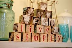 so easy to make - you need , wood blocks, scrapbook paper and pictures, modgpoge