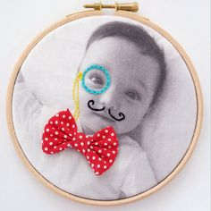 Baby child embroidered photo hoop art by DitzAndBobs on Etsy