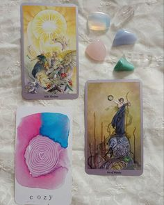 My morning was full of readings today! Now it's time to pack up some crystals! · · Decks:  Shadowscapes Tarot by @spmlaw SoulSpace Oracle by @jenberlingo