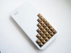 Bronze Studded Pyramid White iPhone 4 4S Studded by CeciliaJewelry