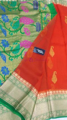 Kanchi organza silk sarees with paithani pallu Kanchi Organza Sarees, Silk Sarees Online, Exclusive Collection, India, Pure Products, Blouse, Color, Fashion, Moda