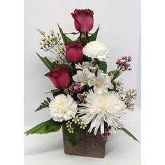 Side winder Roses, carnations and spider mums Three Hills AB Florist - Shirley's Flowers and Friend's Three Roses, Spider Mums, Carnations, Special Gifts, Bath And Body, Outdoor Gardens, Bouquet, Flowers, Plants