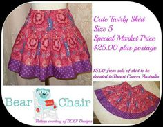 Handmade By Bear In A Chair Cute Twirly Skirt Size 5