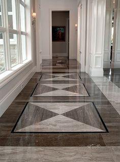 Floor detail by Just Tile & Marble. Foyer Design, Lobby Design, Staircase Design, Tile Design, Ceiling Design Living Room, False Ceiling Design, Classic House Design, House Entrance, Granite Flooring