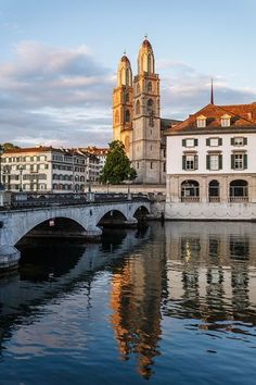 Grossmünster church and Limmat river, Zurich, Switzerland. Zurich, Switzerland, River, Mansions, House Styles, Manor Houses, Villas, Mansion, Palaces
