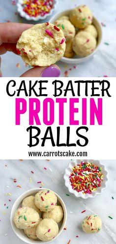 Vanilla Cake Batter Protein Balls - Carrots 'N' Cake Macros per ball: P 4 C 17 F 6 Cookies Healthy, Healthy Recipes, Healthy Desserts, Gourmet Recipes, Snack Recipes, Dessert Recipes, Protein Cookies, Healthy Breakfasts, Healthy Cake Pops