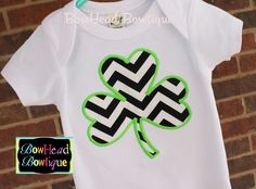 Black Chevron Shamrock Clover St. Patricks Day White Applique Boutique Shirt or Onesie for Baby, Toddler, or Youth Boys. $22.00, via Etsy.
