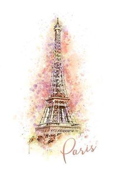 Paris - Eiffel Tower - Watercolor (Art Prints, Wood & Metal Signs, C. Eiffel Tower Painting, Eiffel Tower Art, Paris Tower, Eiffel Tower Drawing, Eiffel Tower Photography, Paris Photography, Paris Wallpaper, Paris Pictures, Photo D Art