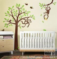 2 Monkeys swinging from Branch and Tree Birds Nursery Vinyl Wall Decal