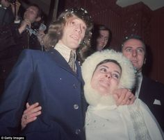 Robin Gibb and first wife, Molly Hullis, on their wedding day, 1968.